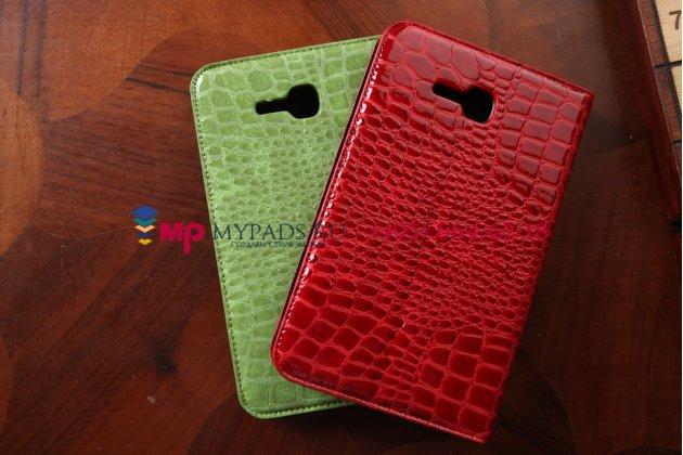 Фирменный чехол-футляр для Samsung Galaxy Tab 3 Lite 7.0 SM-T110/T111 лаковая кожа крокодила алый огненный красный