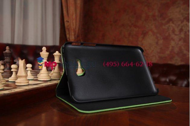 Лаковая блестящая кожа под крокодила чехол для Samsung Galaxy Tab 3 Lite 7.0 SM-T110/T111 зеленый