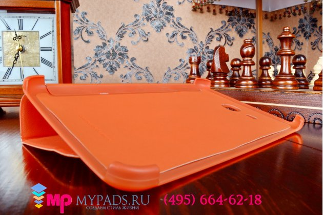 """Чехол с логотипом для Самсунг Галакси Таб 3 Лайт 7.0 SM T110/T111 с дизайном """"Book Cover"""" оранжевый"""