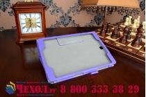 """Фирменный чехол бизнес класса для Samsung Galaxy Tab A 9.7 SM-T550/T555 с визитницей и держателем для руки фиолетовый натуральная кожа """"Prestige"""" Италия"""