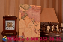"Чехол-футляр для Samsung Galaxy Tab A 9.7 SM-T550/T555 ""тематика карта мира"" кожаный коричневый"