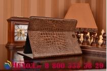Фирменный чехол для Samsung Galaxy Tab A 9.7 SM-T550/T555 лаковая кожа крокодила коричневый