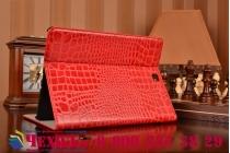 Фирменный чехол для Samsung Galaxy Tab A 9.7 SM-T550/T555 лаковая кожа крокодила красный