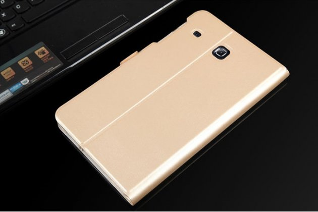 Фирменный уникальный необычный чехол-подставка для Samsung Galaxy Tab E 8.0 SM-T377  золотой