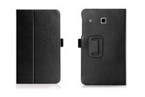 """Фирменный чехол бизнес класса для Samsung Galaxy Tab E 8.0 SM-T377 с визитницей и держателем для руки черный натуральная кожа """"Prestige"""" Италия"""
