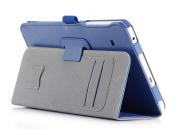 Фирменный чехол бизнес класса для Samsung Galaxy Tab E 8.0 SM-T377 с визитницей и держателем для руки синий на..