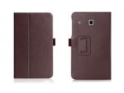 Фирменный чехол бизнес класса для Samsung Galaxy Tab E 8.0 SM-T377 с визитницей и держателем для руки коричнев..