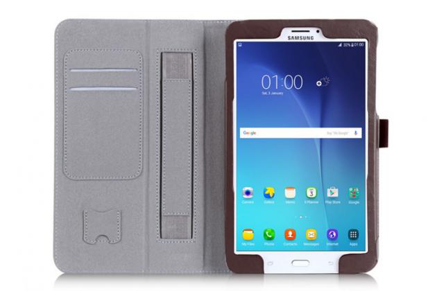 """Фирменный чехол бизнес класса для Samsung Galaxy Tab E 8.0 SM-T377 с визитницей и держателем для руки коричневый натуральная кожа """"Prestige"""" Италия"""