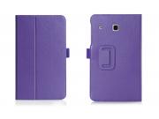 Фирменный чехол бизнес класса для Samsung Galaxy Tab E 8.0 SM-T377 с визитницей и держателем для руки фиолетов..
