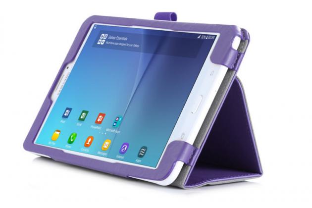 """Фирменный чехол бизнес класса для Samsung Galaxy Tab E 8.0 SM-T377 с визитницей и держателем для руки фиолетовый натуральная кожа """"Prestige"""" Италия"""