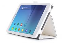 """Фирменный чехол бизнес класса для Samsung Galaxy Tab E 8.0 SM-T377 с визитницей и держателем для руки белый натуральная кожа """"Prestige"""" Италия"""