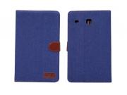 Фирменный чехол-обложка с визитницей и застежкой для Samsung Galaxy Tab E 8.0 SM-T377 синий из настоящей джинс..