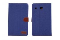 Фирменный чехол-обложка с визитницей и застежкой для Samsung Galaxy Tab E 8.0 SM-T377 синий из настоящей джинсы