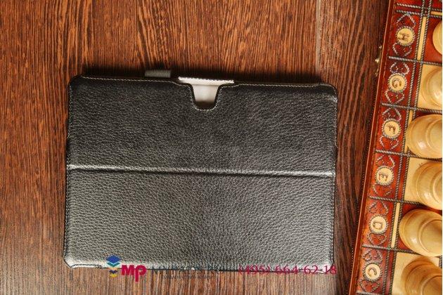 """Фирменный чехол-футляр для Samsung Galaxy Tab Pro 10.1 SM-T520/T525 с мульти-подставкой и держателем для руки черный натуральная кожа """"Deluxe"""" Италия"""