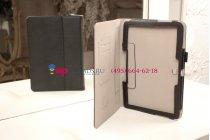 """Фирменный чехол бизнес класса для Samsung Galaxy Tab Pro 10.1 SM-T520/T525 с визитницей и держателем для руки черный натуральная кожа """"Prestige"""" Италия"""