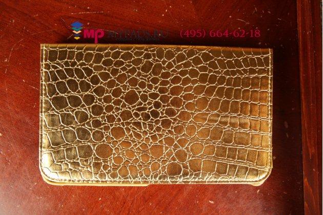 Эксклюзивный фирменный чехол для Samsung Galaxy Tab Pro 8.4 SM-T320/T325 кожа крокодила золотой. Только у нас. Количество ограничено.