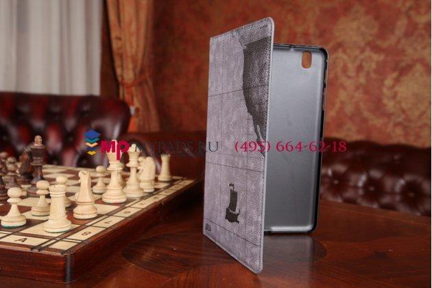 "Чехол для Samsung Galaxy Tab Pro 8.4 ""тематика карта мира"" кожаный серый"