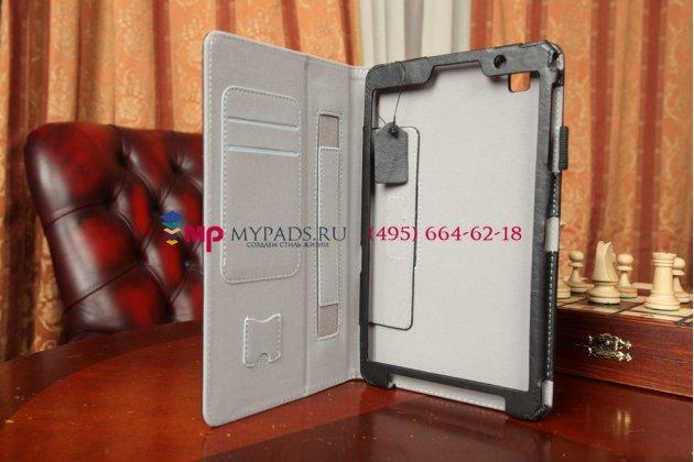 """Фирменный чехол бизнес класса для Samsung Galaxy Tab Pro 8.4 SM-T320/T325 с визитницей и держателем для руки черный натуральная кожа """"Prestige"""" Италия"""