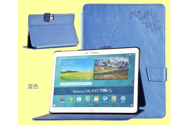"Чехол с красивым узором для Samsung Galaxy Tab S 10.5 синий ""Luxury"" натуральная кожа Италия"