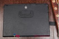 """Фирменный чехол бизнес класса для Samsung Galaxy Tab S 10.5 с визитницей и держателем для руки черный натуральная кожа """"Prestige"""" Италия"""