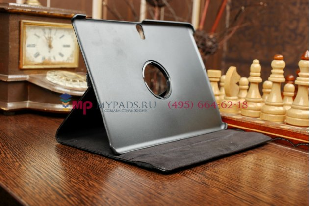 Фирменный чехол-футляр для Samsung Galaxy Tab S 10.5 SM-t800/t801/t805 поворотный роторный оборотный черный кожаный