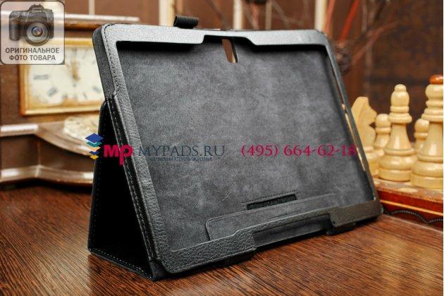 Фирменный чехол обложка для Samsung Galaxy Tab S 10.5 SM-T800/T801/T805 черный кожаный
