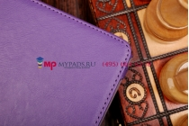"""Фирменный чехол бизнес класса для Samsung Galaxy Tab S 10.5 с визитницей и держателем для руки фиолетовый натуральная кожа """"Prestige"""" Италия"""