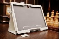 """Фирменный чехол для Samsung Galaxy Tab S 10.5 с визитницей и держателем для руки белый натуральная кожа  """"Prestige"""" Италия"""