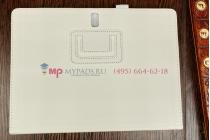 Фирменный чехол-обложка для Samsung Galaxy Tab S 10.5 SM-T800/T801/T805 белый кожаный