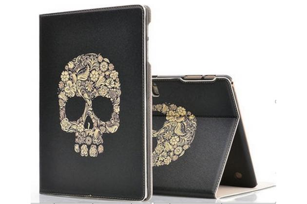 Фирменный чехол-обложка с безумно красивым расписным рисунком черепа для планшета Samsung Galaxy Tab S 10.5 SM-t800/t801/t805 черный кожаный