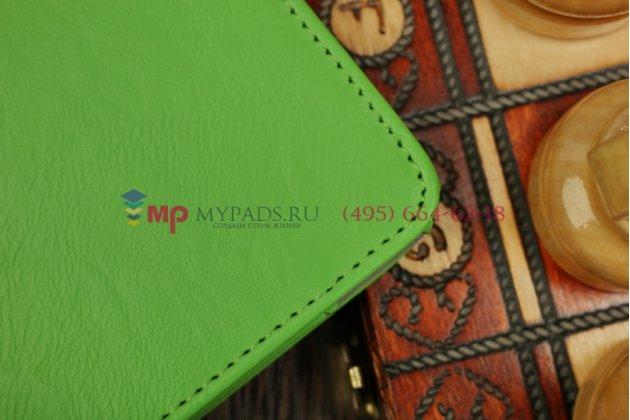 """Фирменный чехол бизнес класса для Samsung Galaxy Tab S 10.5 с визитницей и держателем для руки зеленый натуральная кожа """"Prestige"""" Италия"""