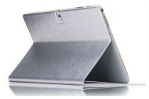 Фирменный умный ультра тонкий чехол бизнес класса для планшета Samsung Galaxy Tab S 10.5 SM-t800/t801/t805 из качественной импортной кожи серебристый