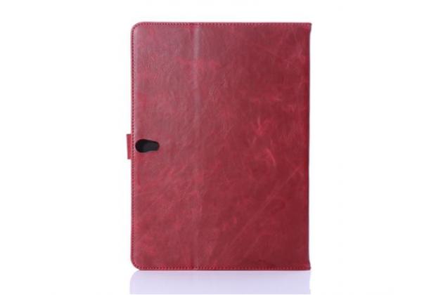 Фирменный умный ультра тонкий чехол бизнес класса для планшета Samsung Galaxy Tab S 10.5 SM-t800/t801/t805 из качественной импортной кожи красный