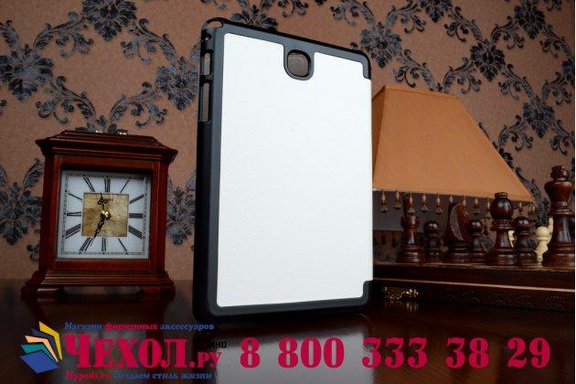 """Фирменный умный чехол самый тонкий в мире для планшета Samsung Galaxy Tab A 8.0 SM-T350/T351/T355  """"Il Sottile"""" белый кожаный"""