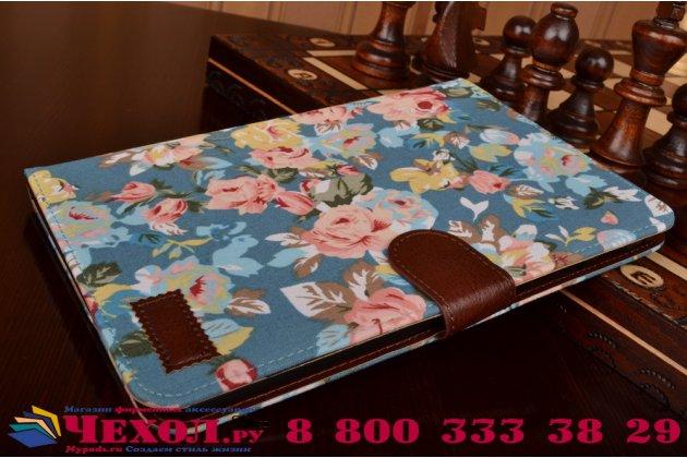 """Фирменный чехол-обложка с подставкой и визитницей для Samsung Galaxy Tab A 8.0 SM-T350/T351/T355 """"тематика Розы в винтажном стиле"""" голубой"""