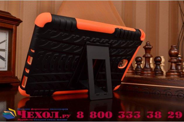 Противоударный усиленный ударопрочный фирменный чехол-бампер-пенал для Samsung Galaxy Tab A 8.0 SM-T350/T351/T355 оранжевый