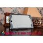 """Фирменный чехол бизнес класса для Samsung Galaxy Tab A 8.0 SM-T350/T351 с визитницей и держателем для руки черный натуральная кожа """"Prestige"""" Италия"""