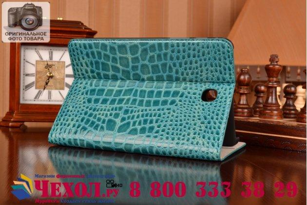 Фирменный чехол для Samsung Galaxy Tab A 8.0 SM-T350/T351/T355 лаковая кожа крокодила бирюзовый