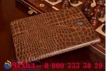 Фирменный чехол для Samsung Galaxy Tab A 8.0 SM-T350/T351/T355 лаковая кожа крокодила коричневый