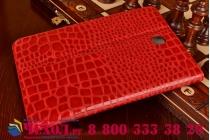 Фирменный чехол для Samsung Galaxy Tab A 8.0 SM-T350/T351/T355 лаковая кожа крокодила красный