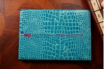 Фирменный чехол для Samsung Galaxy Note 10.1 2014 edition SM-P6000/P6010/P6050 кожа крокодила цвет морской волны бирюзовый