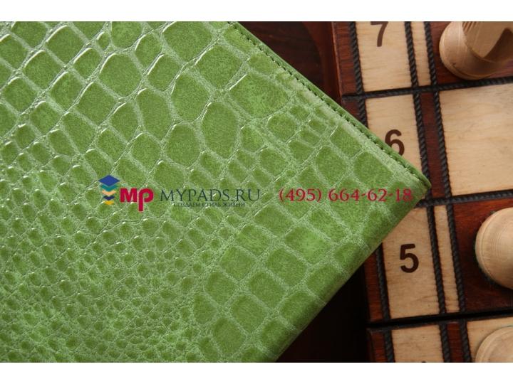 Фирменный чехол для Samsung Galaxy Note 10.1 2014 edition SM-P6000/P6010/P6050 кожа крокодила зеленый..