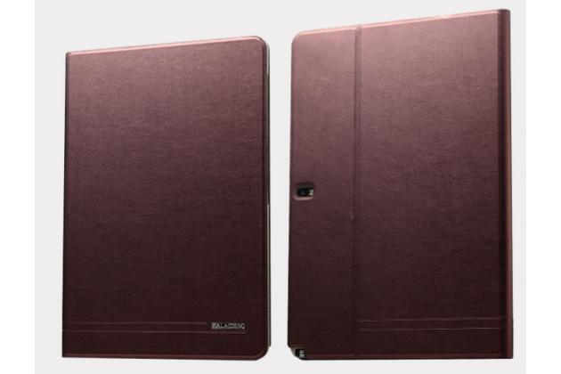 Фирменный тонкий легкий водоотталкивающий чехол открытого типа для Samsung Galaxy Note Pro 12.2 SM-P900/P901/P905 бордовый кожаный