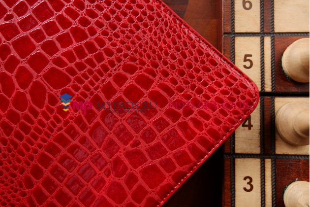 Фирменный чехол для Samsung Galaxy Note Pro 12.2 SM-P9000/P9010/P9050 лаковая кожа крокодила алый огненный красный