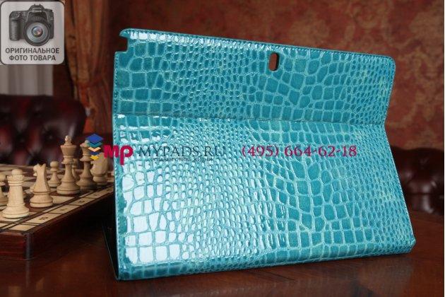 Фирменный чехол для Samsung Galaxy Note Pro 12.2 SM-P900/P901/P905 кожа крокодила цвет морской волны бирюзовый