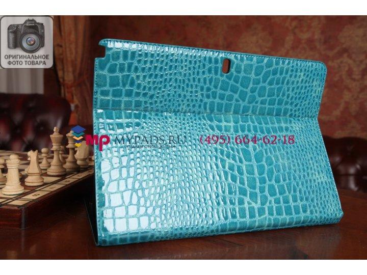 Фирменный чехол для Samsung Galaxy Note Pro 12.2 SM-P900/P901/P905 кожа крокодила цвет морской волны бирюзовый..