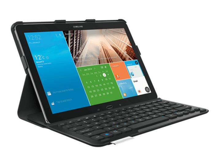 Фирменный ультратонкий водоотталкивающий чехол Logitech PRO Keyboard Case с Bluetooth-клавиатурой для Samsung ..