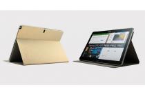 Фирменный тонкий легкий водоотталкивающий чехол открытого типа для Samsung Galaxy Note Pro 12.2 SM-P900/P901/P905 золотой кожаный