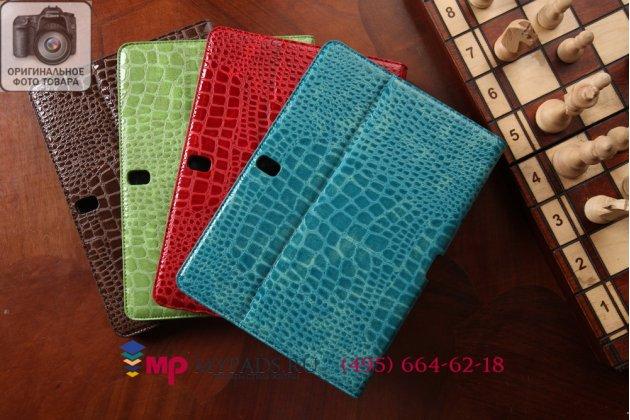 Фирменный чехол для Samsung Galaxy Tab Pro 10.1 SM-T520/T525 кожа крокодила шоколадный