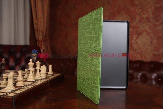 Фирменный чехол для Samsung Galaxy Tab Pro 10.1 SM-T520/T525 кожа крокодила зеленый